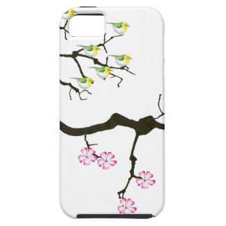 7 sakura blossoms with 7 birds, tony fernandes iPhone 5 covers