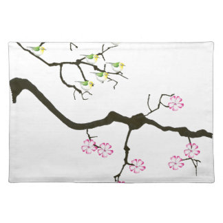 7 sakura blossoms with 7 birds, tony fernandes placemat