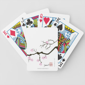 7 sakura blossoms with pink bird, tony fernandes bicycle playing cards