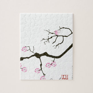 7 sakura blossoms with pink bird, tony fernandes jigsaw puzzle