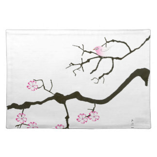 7 sakura blossoms with pink bird, tony fernandes placemat