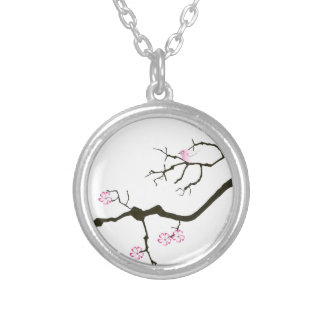 7 sakura blossoms with pink bird, tony fernandes silver plated necklace