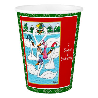7 Swans a Swimming Cute Animals 12 Days Christmas Paper Cup