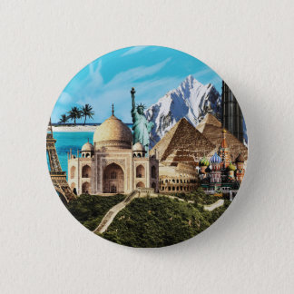 7 wonders colorful travel collage button