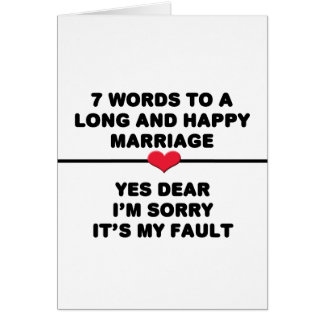 7 Words For A Long and Happy Marriage Greeting Card