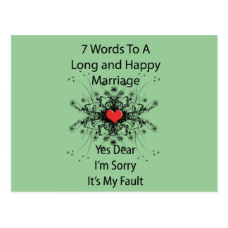 7 Words To A Long Marriage Postcard