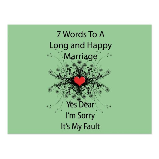 7 Words To A Long Marriage Post Cards