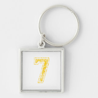 #7 Yellow Varsity Silver-Colored Square Key Ring