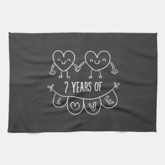 7th Anniversary Gift Chalk Hearts Tea Towel