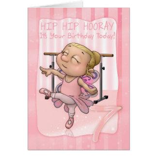 7th Birthday Ballet Dancer Hip Hip Hooray In Pinks Greeting Card