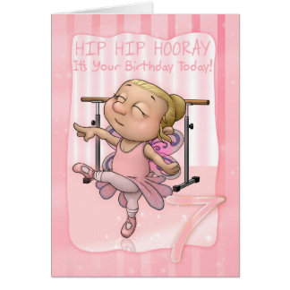 7th Birthday Ballet Dancer Hip Hip Hooray In Pinks Greeting Card
