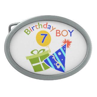 7th Birthday - Birthday Boy Oval Belt Buckles