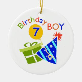7th Birthday - Birthday Boy Round Ceramic Decoration