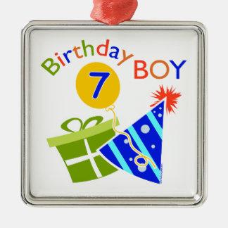 7th Birthday - Birthday Boy Silver-Colored Square Decoration