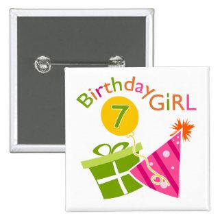 7th Birthday - Birthday Girl Button