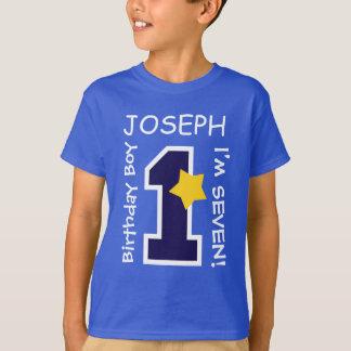 7th Birthday Boy BLUE One Year Custom Name A07 T-Shirt