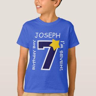 7th Birthday Boy BLUE One Year Custom Name A07A T-Shirt