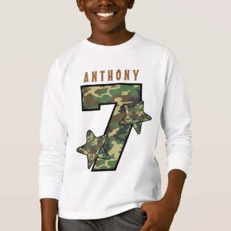 7th Birthday Boy Camo and Stars Custom Name V01G T-Shirt