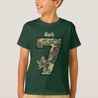 7th Birthday Boy Camo Custom Name V01 Tees