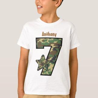 7th Birthday Boy Camo Custom Name V01A T-Shirt