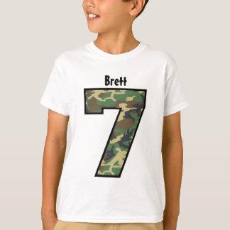 7th Birthday Boy Camo Four Year Custom Name V007G T Shirts