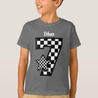 7th Birthday Boy Checked Star Custom Name V08 T-Shirt