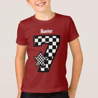 7th Birthday Boy Checked Star Custom Name V13 T-Shirt