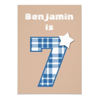 7th Birthday Boy Custom Name BLUE Plaid B07 13 Cm X 18 Cm Invitation Card