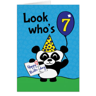 7th Birthday - Boy Panda with Balloon & Card
