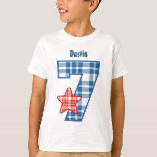 7th Birthday Boy PLAID Star Custom Name V22 T-Shirt