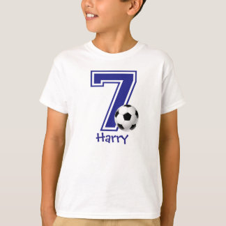 7th Birthday boy soccer personalized T-Shirt