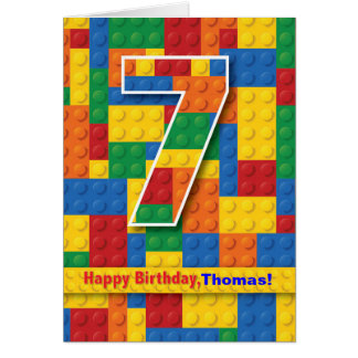 7th Birthday Boy, Stacking Blocks, Personalize Card