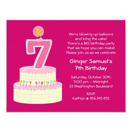 7th Birthday Cake Invitation | Zazzle.com.au