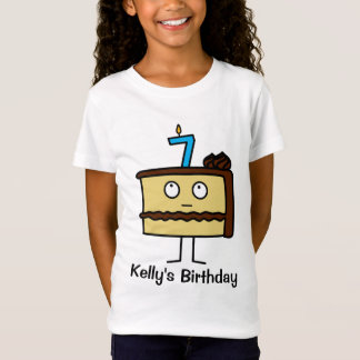 7th Birthday Cake with Candles T-Shirt