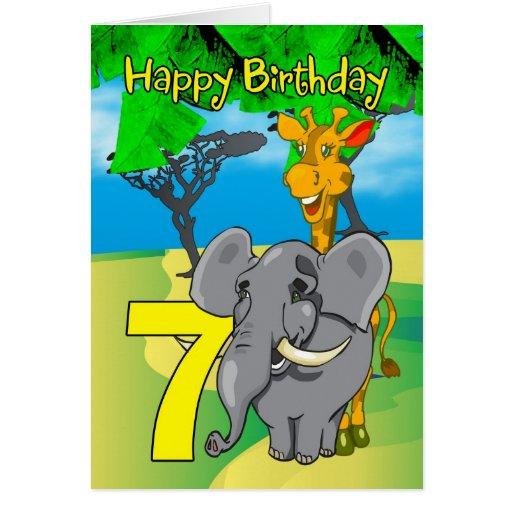 7th Birthday Card - Elephant, Giraffe, Jungle 7th
