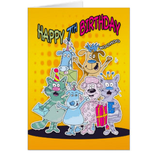 7th Birthday Card - Moonies Doodlematoons