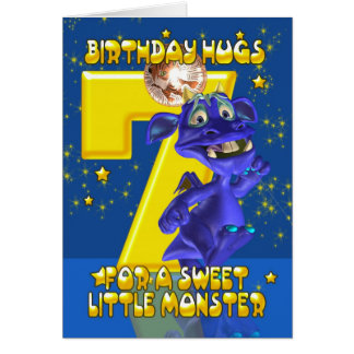 7th Birthday Card With Cute Blue Monster - Moonies