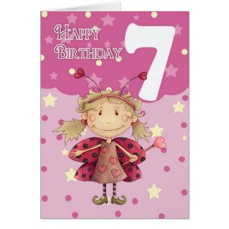 7th birthday card with cute ladybug fairy