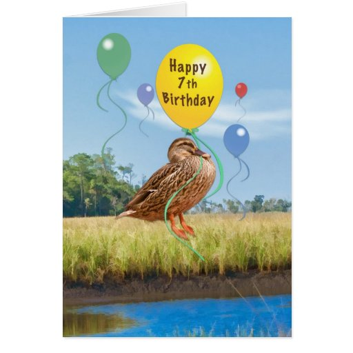 7th Birthday Card with Duck and Balloons