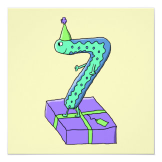 7th Birthday Cartoon. 13 Cm X 13 Cm Square Invitation Card