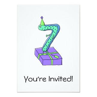 7th Birthday Cartoon. 13 Cm X 18 Cm Invitation Card