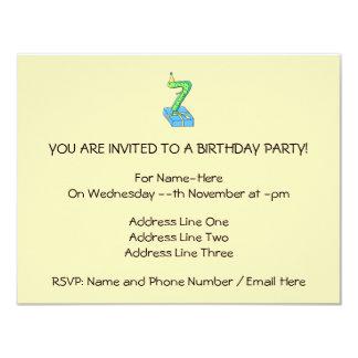 7th Birthday Cartoon, Green and Blue. 11 Cm X 14 Cm Invitation Card