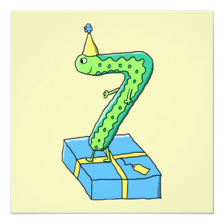 7th Birthday Cartoon, Green and Blue. 13 Cm X 13 Cm Square Invitation Card