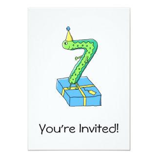 7th Birthday Cartoon, Green and Blue. 13 Cm X 18 Cm Invitation Card