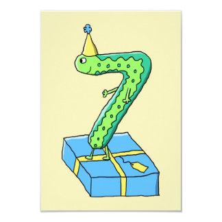 7th Birthday Cartoon, Green and Blue. 9 Cm X 13 Cm Invitation Card