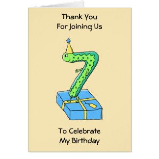 7th Birthday Cartoon, Green and Blue. Greeting Card