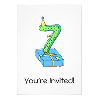 7th Birthday Cartoon, Green and Blue. Custom Invitations