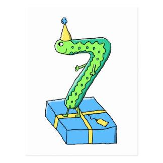 7th Birthday Cartoon, Green and Blue. Postcard