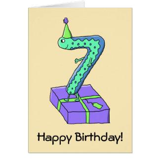 7th Birthday Cartoon. Greeting Card
