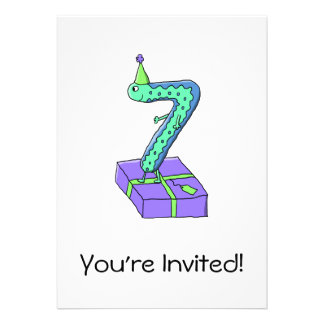 7th Birthday Cartoon. Invitation
